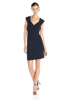 Adrianna Papell Women's Cap Sleeve V Neck Banded Dress