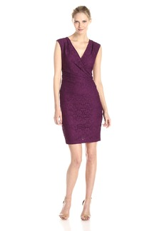 Adrianna Papell Women's Cap Sleeve V Neck Rouched Side Lace Dress