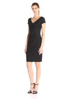 Adrianna Papell Women's Cap Sleeve V Neck Sequin Lace Cocktail Dress