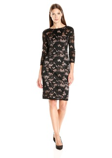 Adrianna Papell Women's Carol Lace Contrast Sheath Dress