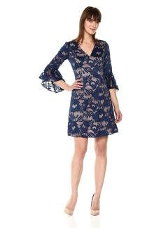 Adrianna Papell Women's Carol Lace Ruffle Sleeve Dress