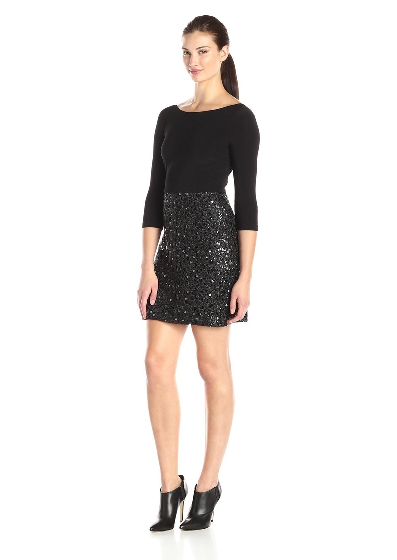 Adrianna Papell Women's Chemical Lace and Sequin with Jersey Combination A-Line Dress and Sleeves