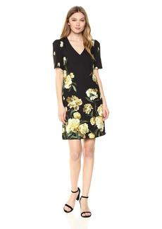 Adrianna Papell Women's Cherry Blossom Lattice Printed Burnout Dress