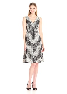 Adrianna Papell Women's Chevron Lace Striped Fit and Flare Dress Black/Ivory