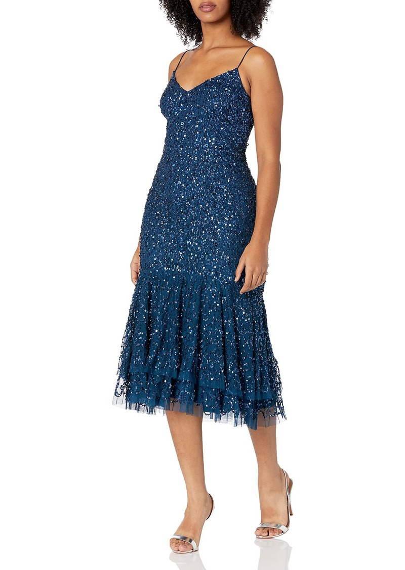 Adrianna Papell Women's Chic Beaded Floral Short Dress deep Blue