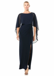 Adrianna Papell Women's Chiffon Capelet Jersey Gown