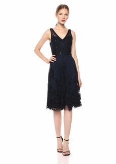 Adrianna Papell Women's Classy Subtle Beaded Cocktail Dress with Ruffle Skirt