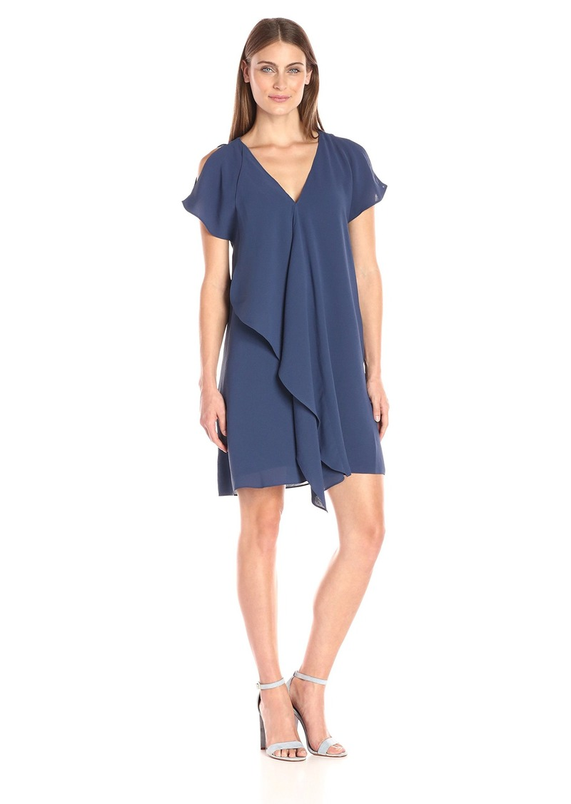 Adrianna Papell Women's Cold Shoulder Asym Drape Dress