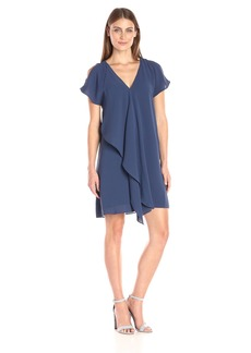 Adrianna Papell Women's Cold Shoulder Asym Drape Dress