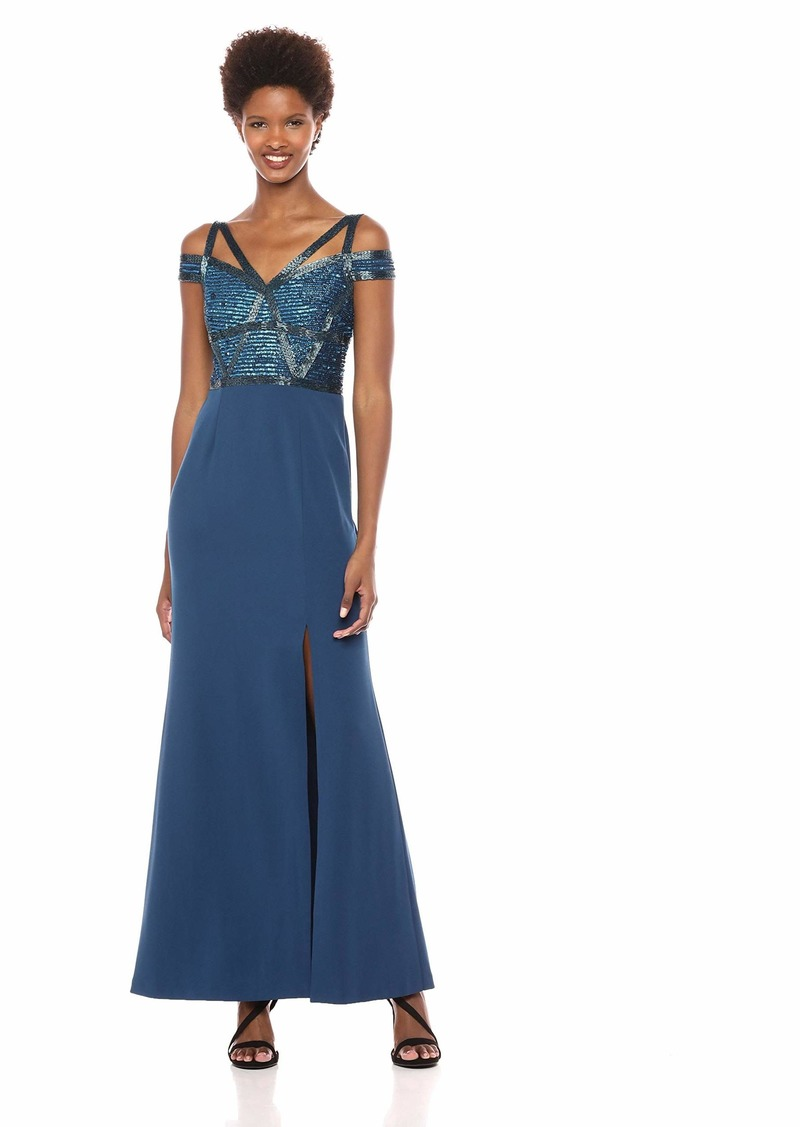Adrianna Papell Women's Cold Shoulder Long Beaded Dress deep Blue