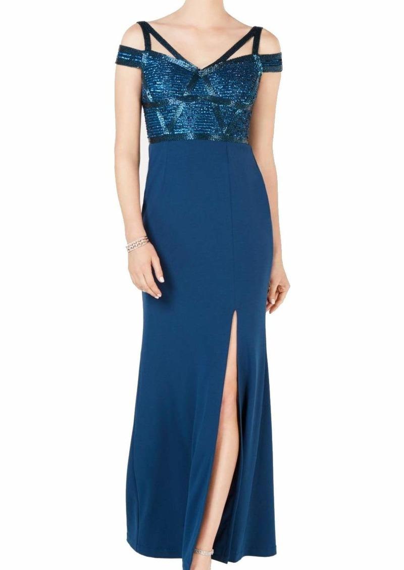 Adrianna Papell Women's Cold Shoulder Long Beaded Dress deep Blue