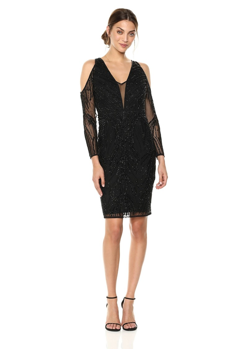 Adrianna Papell Women's Cold Shoulder Short Beaded Dress