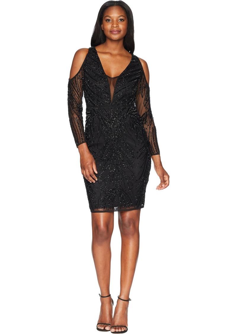 Adrianna Papell Women's Cold Shoulder Short Beaded Dress