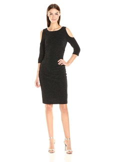 Adrianna Papell Women's Cold Shoulder Side Rusched Dress