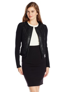 Adrianna Papell Women's Collarless Jacket with Faux Leather Trim