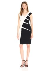 Adrianna Papell Women's Color Blocked Stretch Crepe Sheath Dress