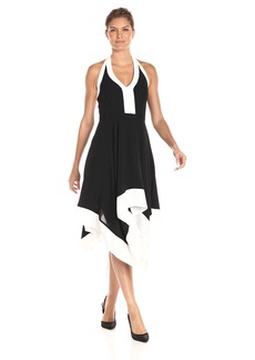 Adrianna Papell Women's Colorblock Deep Vneck Dress with Handkerchief Hem Black/Ivory