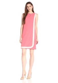 Adrianna Papell Women's Contral-Trim Lap-Over Soft Dress with Bead Neck