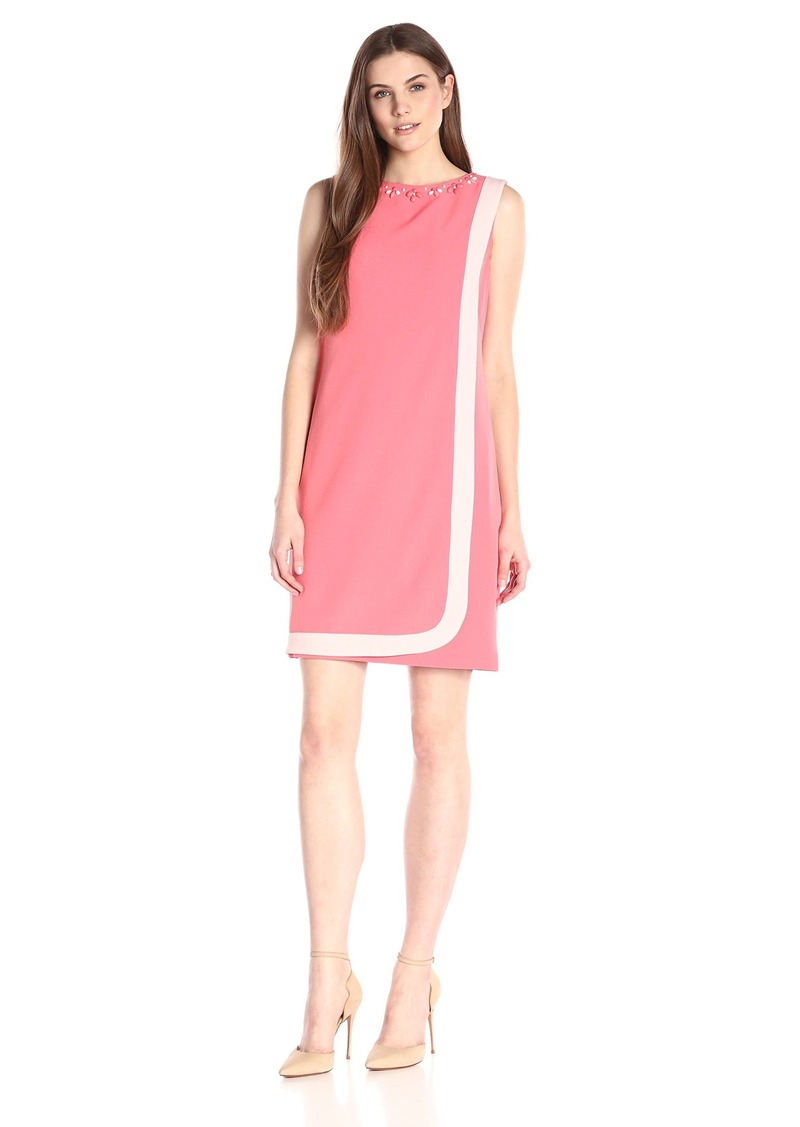 ffefd11a69f49 Adrianna Papell Women s Contral-Trim Lap-Over Soft Dress with Bead Neck