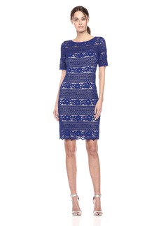 Adrianna Papell Women's Corded Stripe Lace Dress