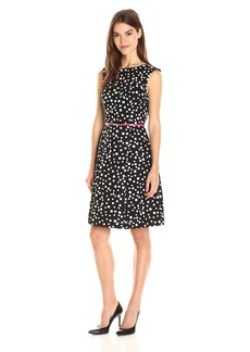 Adrianna Papell Women's Cotton Faille Fit and Flare Black/Ivory
