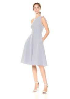 Adrianna Papell Women's Cotton Stripe ONE Shoulder Dress