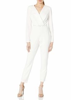 Adrianna Papell Women's Crepe & Satin Tuxedo Jumpsuit