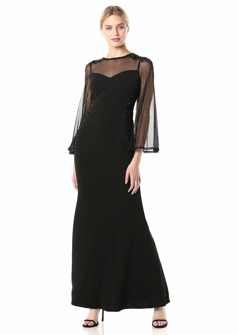 Adrianna Papell Women's Crepe and Point D'esprit Gown