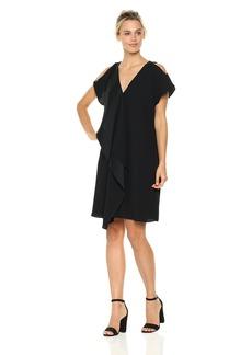 Adrianna Papell Women's Crepe Back Satin Ruffle Shift Dress