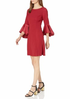 Adrianna Papell Women's Crepe-Back Satin with Ruffle Sleeve Dress Matador RED