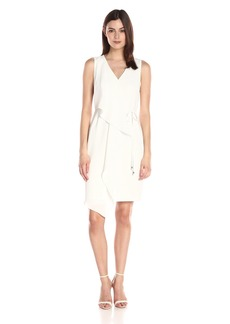 Adrianna Papell Women's Crepe Sleeveless Draped Dress