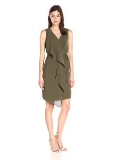 Adrianna Papell Women's Crepe Sleeveless Draped Dress