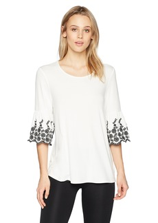 Adrianna Papell Women's Crew Neck Embroidered Bell Sleeve top
