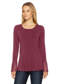Adrianna Papell Women's Crew Neck Pleated Front Woven Back Long Sleeve