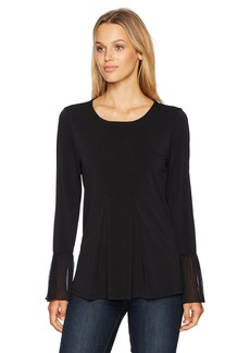 Adrianna Papell Women's Crew Neck Pleated Front Woven Back Long Sleeve  MEDIUM
