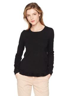 Adrianna Papell Women's Crew Neck Ruffle Hem Long Sleeve Sweater  XSmall