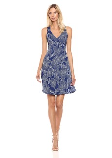 Adrianna Papell Women's Cross Back F&f Dress Light Blue L