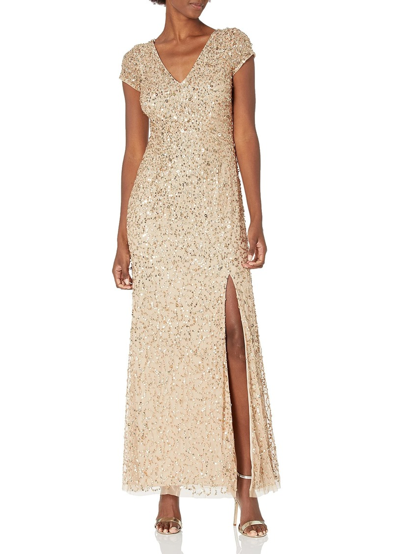 Adrianna Papell Women's Crunchy Beaded Gown