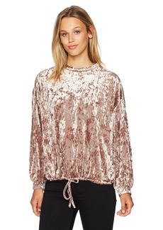 Adrianna Papell Women's Crushed Velvet Top Long Puff Sleeve & Drawstring
