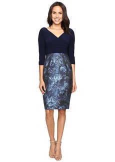 Adrianna Papell Women's Deep V Neck Jersey Dress with Jacquard Skirt