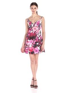 Adrianna Papell Women's Deep V-Neck Mikado Cocktail Dress