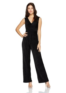 Adrianna Papell Women's Deep V-Neck Pleated Jumpsuit