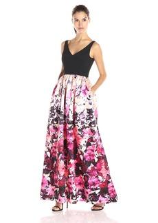Adrianna Papell Women's Deep V-Neck Printed Mikado Dress