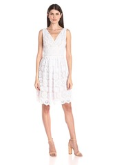 Adrianna Papell Women's Deep Vneck Fit and Flare Medallion Lace