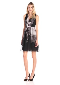 Adrianna Papell Women's Deep Vneck Gathered Waist Fit and Flare Dress