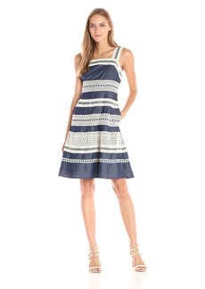 Adrianna Papell Women's Denim Fit and Flare Dress