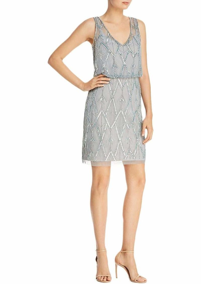 Adrianna Papell Women's Diamond Beaded Cocktail Dress with Blouson Bodice