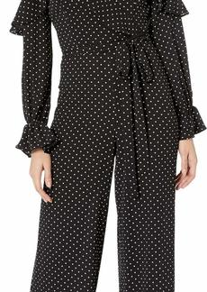 Adrianna Papell Womens Dot Print Ruffled Jumpsuit