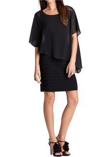 Adrianna Papell Women's Drape Overlay Shutter Dress
