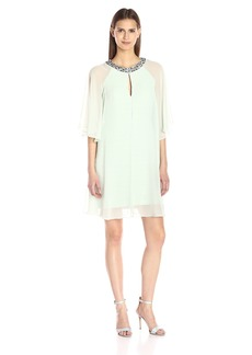 Adrianna Papell Women's Draped Sleeve Capelet Banded Dress